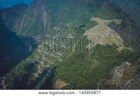 Ancient inca town of Machu Picchu as seen from the Wayna Picchu mountain, Peru