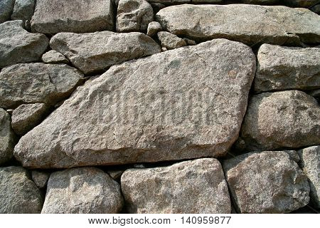 Large stone in an old Inca wall in Peru