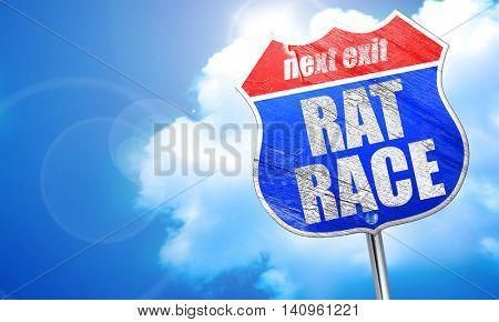 rat race, 3D rendering, blue street sign