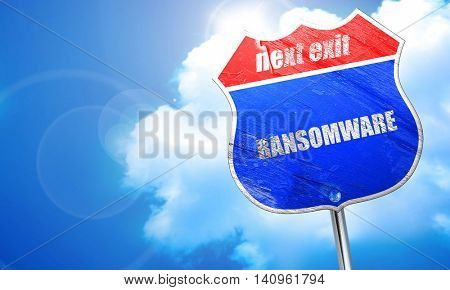 Ransomware, 3D rendering, blue street sign