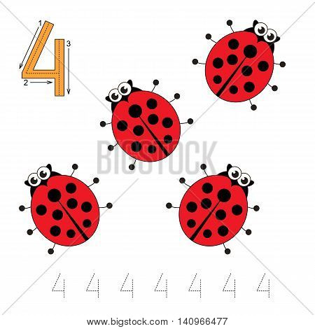 Vector illustrated worksheet. Learn handwriting. Gaming and education. Page to be traced. Easy educational kid game. Simple level. Tracing worksheet for figure Four. Four Ladybugs. poster