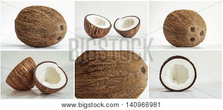 Set photos with fresh coconut on a soft glossy surface. Six images 2:3.