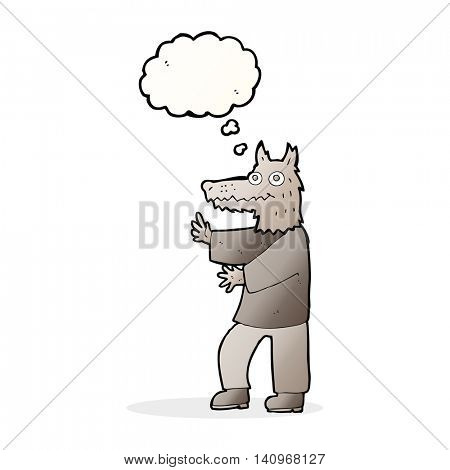 cartoon funny werewolf with thought bubble