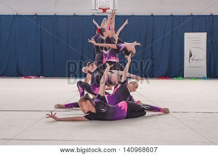 Warsaw Poland - June 25 2016:A group of girls begin their art gymnastics performance