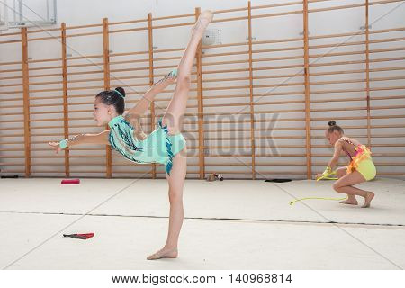 Warsaw Poland - June 25 2016:  A group of small girls practicing before the competition