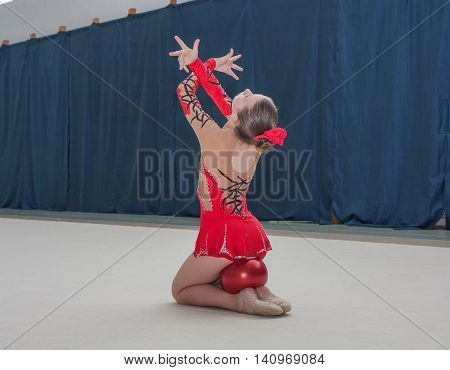 Warsaw Poland - June 25 2016:Young gymnast during her performance
