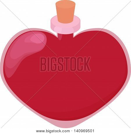 Pink glossy heart-shape bottle of love potion. Elixir of love in glass bottle with bung. Valentine day mixture