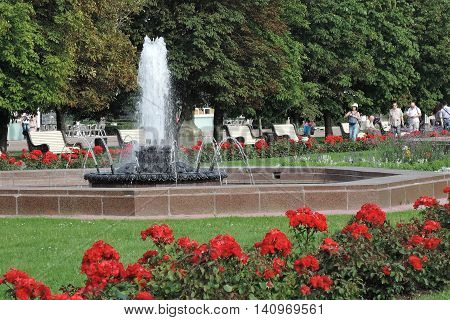 MOSCOW - AUGUST 01, 2016: View of VDNH park in Moscow. Popular touristic landmark.