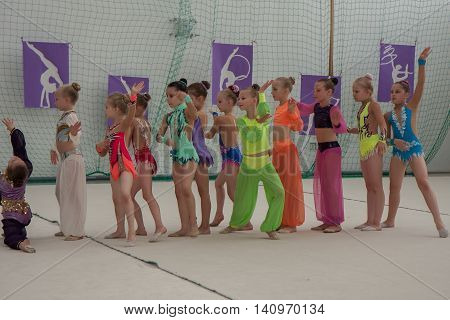 Warsaw Poland - June 25 2016:  A group of girls begin their art gymnastics performance