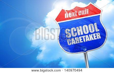 school caretaker, 3D rendering, blue street sign