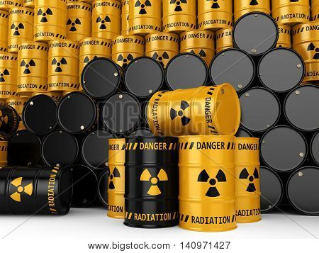 3D Rendering Yellow And Black Radioactive Barrels