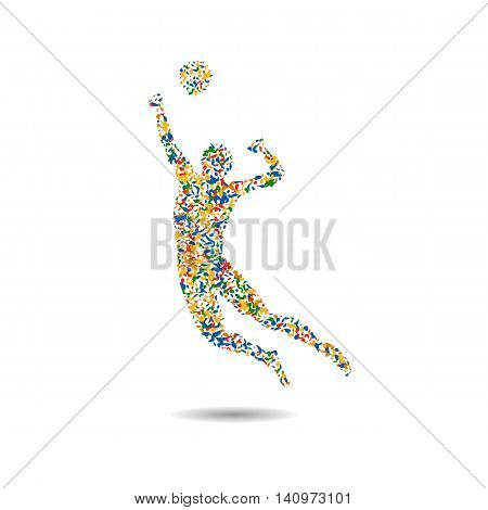 Volleyball icon Rio icon. Athletes 2016 Summer Games. vector illustration
