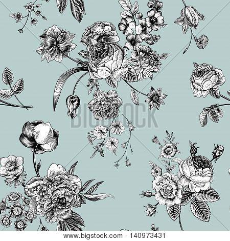 Seamless vector vintage pattern with Victorian bouquet of black and white flowers on a mint background. Garden roses tulips delphinium petunia.