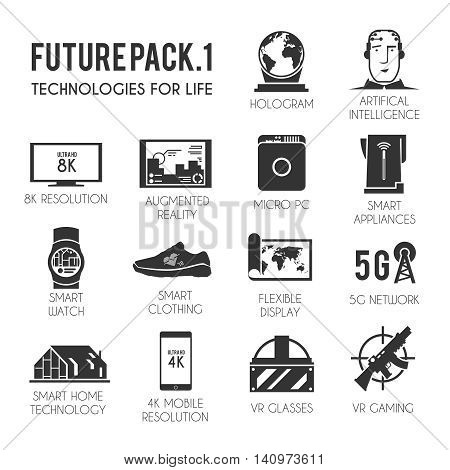 Future vector icons set. The technology of the future. Virtual reality. 8K and 4K resolution. Smart watch. Smart home. VR glasses. Smart clothing. Futuristic icons. Black and white style.