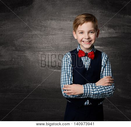 School Boy Child Fashion Student Kid over Blackboard