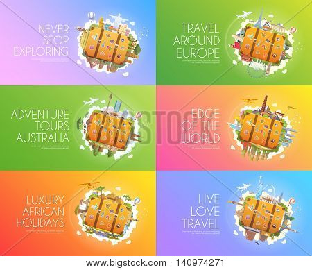 Travel to World. Africa, Australia, Asia, North America, South America, Europe. Tourism. Old suitcase with landmarks Advertising web banners Modern flat design