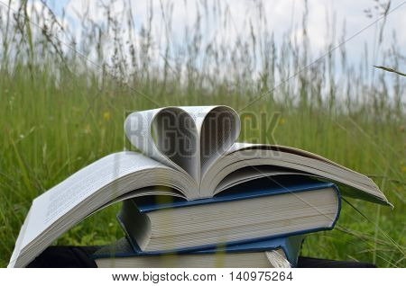 Several books on mountain meadow. The first book on the top is open and pages are forming hart figure a symbol of love.