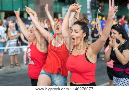 STOCKHOLM, SWEDEN - JULY 30, 2016: Stockholm Pride Parade in Stockholm. The Stockholm Pride festival has been held annually since 1998.
