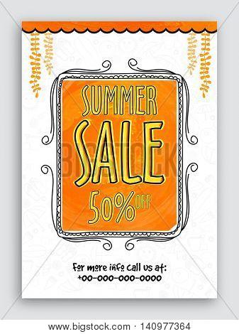 Stylish Summer Sale Flyer, Sale Banner, Sale Poster, Discount Upto 50% off, Vector Sale Illustration.