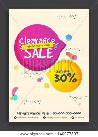 Clearance Sale Flyer, Sale Banner, Sale Poster, Sale Pamphlet, Save Upto 30% for Limited Time Only, Vector Illustration.