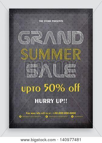 Chalkboard Style, Grand Summer Sale Flyer, Sale Banner, Sale Pamphlet, Sale Poster, Discount Upto 50% Off, Vector Sale Illustration.