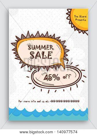 Creative Summer Sale Flyer, Sale Poster, Sale Banner, Discount Upto 45% Off, Vector Illustration.