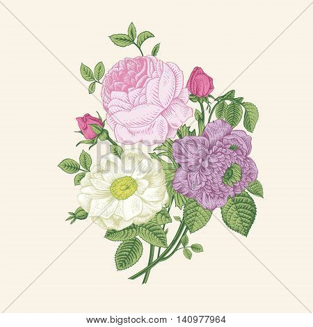 Floral card. Bouquet of roses dogrose and anemone. Vintage vector illustration. Classic.