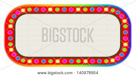 A multi coloured light bulbcinema or theatre marquee.