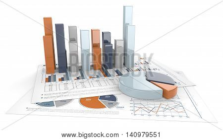3D render of financial documents with graphs and pie charts. Calm Colors.