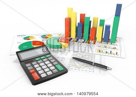 3d Illustration of Financial documents with colorful 3D graphs and pie charts. Pen and Calculator.