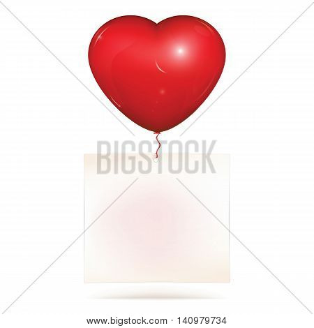Blank paper note hanging on red heart helium balloon. Copy space for greeting text to saint Valentines day or love note. Vector illustration isolated on white background.