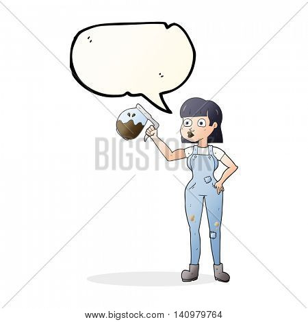 freehand drawn speech bubble cartoon woman in dungarees with coffee