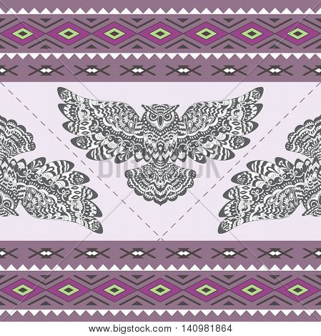 Abstract Seamless Pattern with Owl. Ethnic Geometric Ornament. Vector Background for Fabric, Wallpaper and Border.