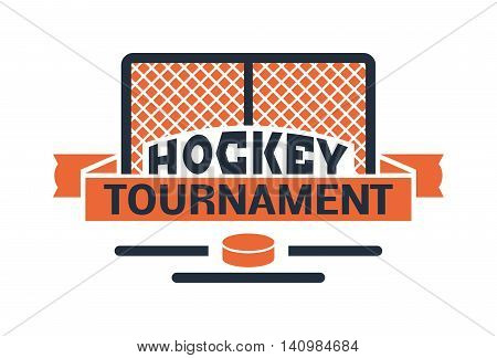 Template logo for hockey sport team with sport sign and symbols. Tournament competition graphic champion sport team logo badge icon. Vector club game hockey sport team logo badge.