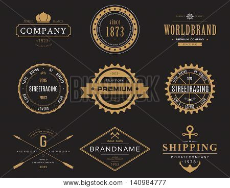 Retro or vintage, old banners and labels, symbol or insignia, badge for company or business logotype with crown and bike, street racing and ship wheel, axe and anchor, arrows and ribbon