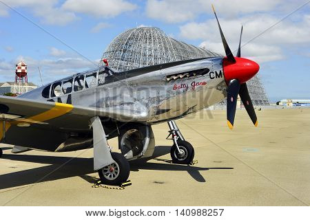 MOUNTAIN VIEW, CALIFORNIA - MAY 26, 2016: A rare P-51C Mustang owned by the Collings Foundation was on display at Moffett Field in California during the yearly Wings Of Freedom Tour. This is 1 of only 5 built during WWII