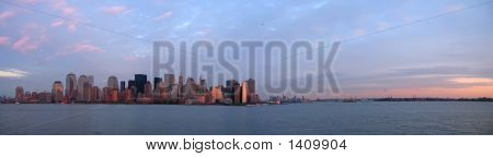 Scrape Sky Building Shore Line At The Sunset From A Boat, New York, Large Panorama