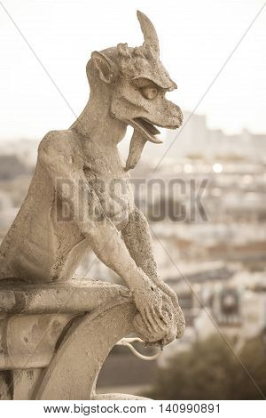 One of the best known chimeras of Notre Dame de Paris