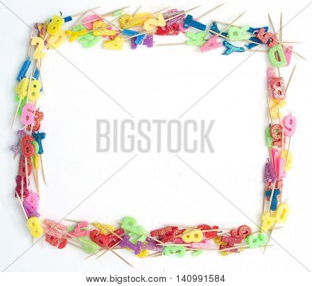 random bBrtday candels  frame