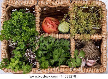 Vegetable In Wicker Cells