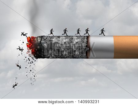 Smoking death and danger concept as a cigarette burning with people falling and escaping the hot burning ash as a metaphor for toxic smoke exposure causing lung cancer and lethal health risks with 3D illustration elements. poster
