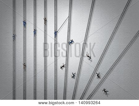 Ruthless business concept and brutal competitive strategy idea as a group of businesspeople climbing ladders with one severe person pushing down competitors eliminating competition with 3D illustration elements.