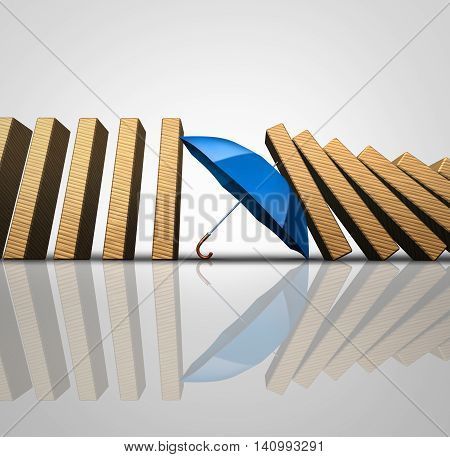 Protect losses concept and shielding incoming disaster as an umbrella stopping the domino effect or falling dominos as a business guarantee metaphor as a 3D illustration.