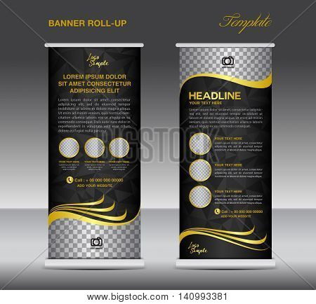 Gold and black Roll up banner template vector stand flyer poster banner design
