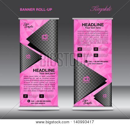 Pink Roll up banner template vector banner design stand flyer design polygon background