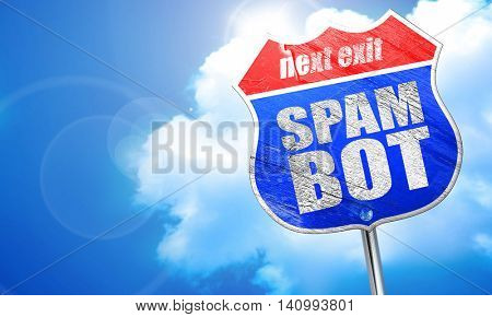 spam bot, 3D rendering, blue street sign
