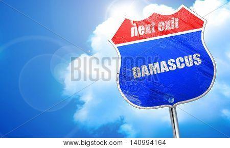 damascus, 3D rendering, blue street sign