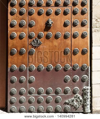 Detail of the main door of the Archbishop Palace in Seville Spain