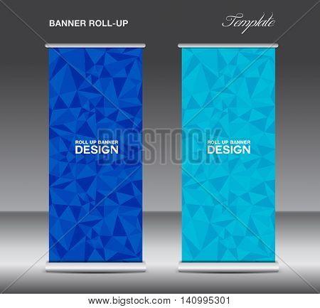 Orange Roll up banner template vector polygon background banner design