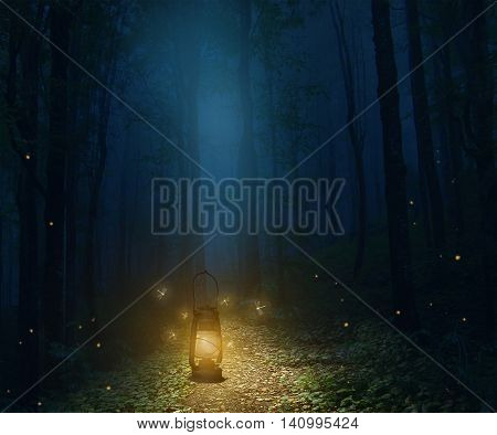 A lamp in the middle of the trail in a forest. 3D rendering.